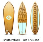 3 wooden surfboards decorated... | Shutterstock .eps vector #1054733555