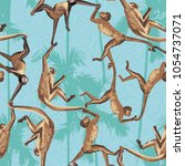 monkey in the jungle realistic... | Shutterstock .eps vector #1054737071