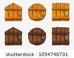 cartoon wooden door  vector...