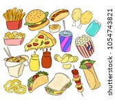 fast food colorful doodles | Shutterstock .eps vector #1054743821