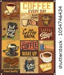 coffee emblems. vintage design... | Shutterstock .eps vector #1054746434