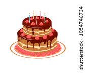 cake with candles and cream.... | Shutterstock .eps vector #1054746734