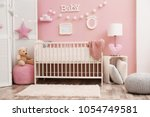 beautiful interior of baby room ... | Shutterstock . vector #1054749581