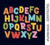 cute hand drawn alphabet made... | Shutterstock .eps vector #1054752701
