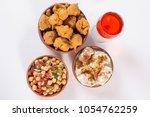 chola chana chaat and basin... | Shutterstock . vector #1054762259