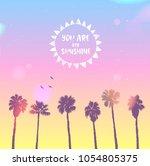 scenic sunset on tropical beach ...   Shutterstock .eps vector #1054805375