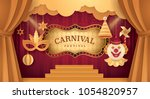 premium gold curtains stage... | Shutterstock .eps vector #1054820957