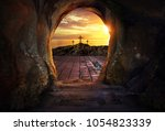 empty tomb with three crosses  | Shutterstock . vector #1054823339