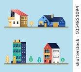 set of houses. suburban house ... | Shutterstock .eps vector #1054831094