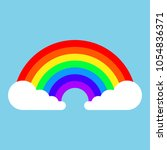 rainbow icon with clouds in... | Shutterstock .eps vector #1054836371