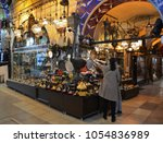 Small photo of ISTANBUL, TURKEY - 17 MARCH, 2018: A customer and a seller bargaining at Grand Bazaar