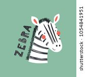 Stock vector hand drawn vector illustration of a cute funny zebra face with lettering quote isolated objects 1054841951