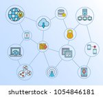 network and communication... | Shutterstock .eps vector #1054846181