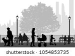 people silhouettes  urban... | Shutterstock .eps vector #1054853735