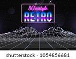 retro 1980s style glitch... | Shutterstock .eps vector #1054856681