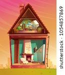 vector house interior cross... | Shutterstock .eps vector #1054857869