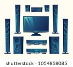 vector home theater  audio... | Shutterstock .eps vector #1054858085