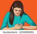 a woman holds her hand to her... | Shutterstock .eps vector #1054858301