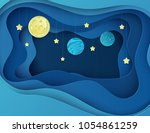 night sky with moon  stars and... | Shutterstock .eps vector #1054861259