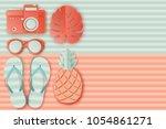 summer background in pastel... | Shutterstock .eps vector #1054861271