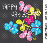 colorful butterfly pattern... | Shutterstock .eps vector #1054876121
