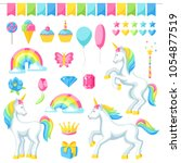 collection of unicorns and... | Shutterstock .eps vector #1054877519