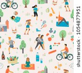 healthy lifestyle. seamless... | Shutterstock .eps vector #1054877951
