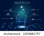 industry 4.0 with hologram... | Shutterstock .eps vector #1054881797