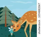 forest fairy with deer | Shutterstock .eps vector #1054882067