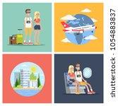 touristic flight set. couple... | Shutterstock .eps vector #1054883837