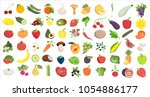 healthy food likes. fruits and... | Shutterstock .eps vector #1054886177
