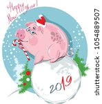 funny piggy  happy chinese new... | Shutterstock .eps vector #1054889507