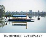 trajinera at lake xochimilco in ... | Shutterstock . vector #1054891697