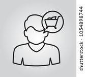 human head with shopping cart...   Shutterstock .eps vector #1054898744