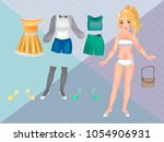 paper dolls with clothes for... | Shutterstock .eps vector #1054906931