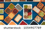 top view different dry legumes... | Shutterstock . vector #1054907789