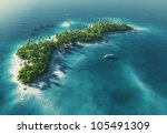paradise tropical island in the ... | Shutterstock . vector #105491309