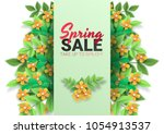 spring sale floral advertizing... | Shutterstock .eps vector #1054913537