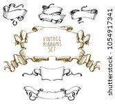 hand drawn vintage waving...   Shutterstock .eps vector #1054917341
