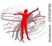 art gymnastics with ribbon... | Shutterstock .eps vector #1054918784