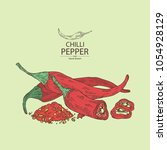 chilli pepper  a piece of hot... | Shutterstock .eps vector #1054928129