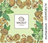 background with walnut  nuts... | Shutterstock .eps vector #1054928174
