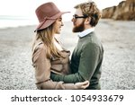 cute couple in love hugging and ... | Shutterstock . vector #1054933679