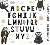 funny alphabet with cute sloths.... | Shutterstock .eps vector #1054933994