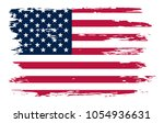 grunge american flag background.... | Shutterstock .eps vector #1054936631