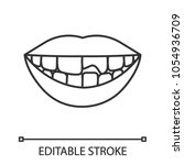 broken tooth linear icon. thin... | Shutterstock .eps vector #1054936709