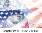 hundreds with american flag | Shutterstock . vector #1054940159