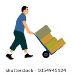 hard worker pushing wheelbarrow ... | Shutterstock .eps vector #1054945124