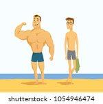strong and weak men   cartoon... | Shutterstock .eps vector #1054946474