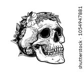 romantic skull with wreath of... | Shutterstock .eps vector #1054947881